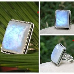 Moonstone Rainbow 925 Silver Ring Unique Handmade